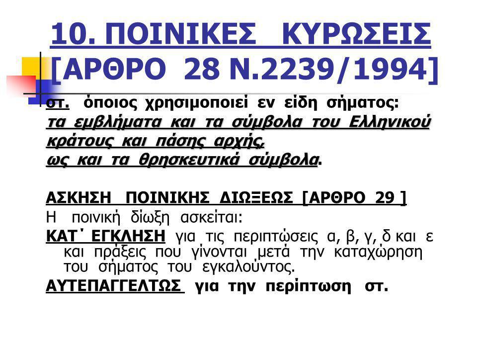 10. ΠΟΙΝΙΚΕΣ ΚΥΡΩΣΕΙΣ [ΑΡΘΡΟ 28 Ν.2239/1994]